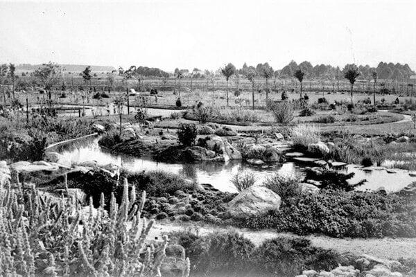 Pohľad do botanickej záhrady, rok 1936.
