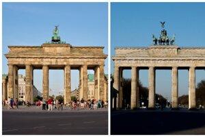 Brandenburská brána v Berlíne pred pandémiou a počas nej.