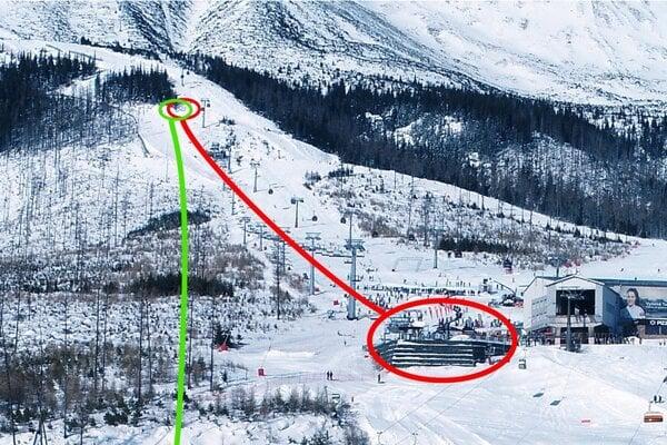 Pohľad na zjazdovku Čučoriedky v Tatranskej Lomnici. Červenou farbou je vyznačená existujúca lanovka s údolnou stanicou, ktorá by sa odstránila. Zelená čiara znázorňuje trasu plánovanej novej lanovky.