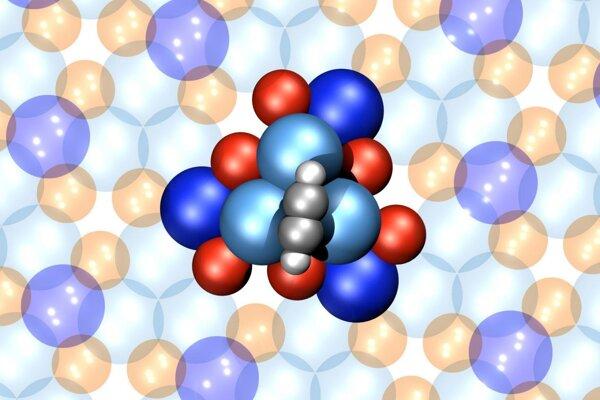 Vizualizácia najmenšieho molekulárneho motora na svete. Tvorí ho šestnásť atómov a spoľahlivo sa pohybuje jedným smerom.
