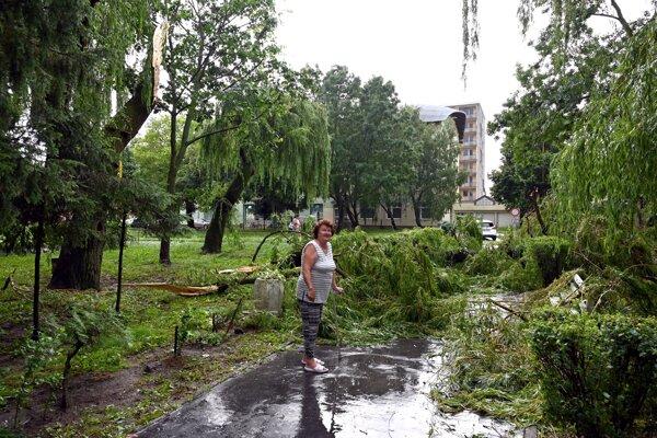 Takáto spúšť ostala po búrke v Trebišove.