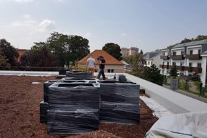 Zelená strecha na šalianskej radnici, september 2018.