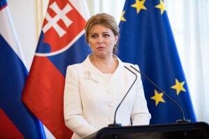 Prezidentka SR Zuzana Čaputová počas tlačovej konferencie po skončení rokovania s prezidentom Slovinskej republiky v Prezidentskom paláci.