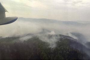 Pohľad na požiar v oblasti Bajkalu.