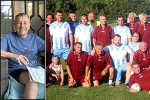 Dušan Bečica (vľavo) nás opustil v apríli 2020 ako 67-ročný. Vpravo časť aktérov úvodného sobotňajšieho exhibičného zápasu.