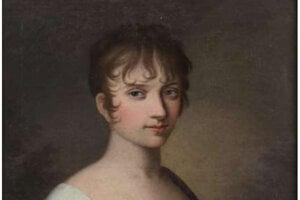 Mladá dáma v empírových šatách - portrét neznámej.