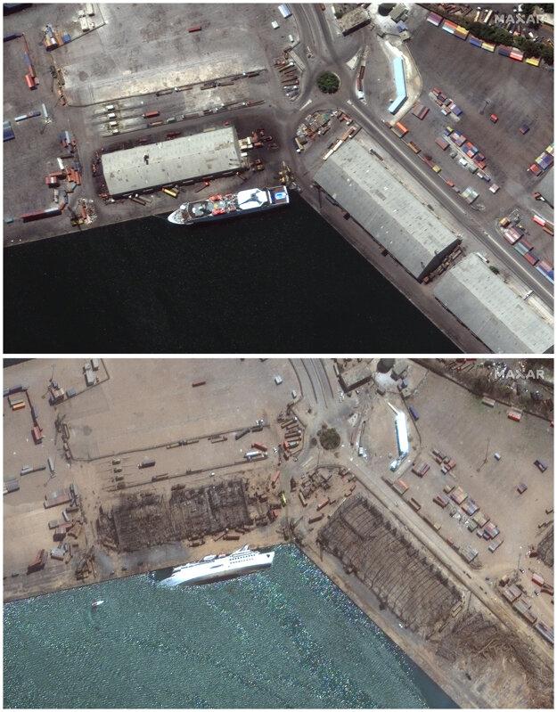 Na satelitnej kombo snímke je prístav v Bejrúte (hore) 31. júla 2020 a (dole) 5. augusta 2020 deň po masívnej explózii.