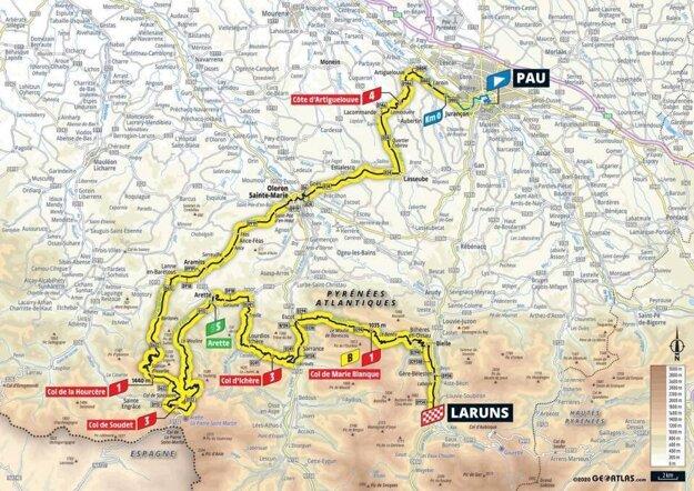 9. etapa na Tour de France 2020 - mapa.