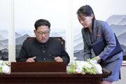 Severokórejský vodca Kim Čong-un sa podpisuje do knihy návštev počas historického summitu medzi Severnou a Južnou Kóreou na juhokórejskej strane demilitarizovaného pásma v dedine Pchanmundžom 27. apríla 2018. Vpravo je sestra severokórejského vodcu Kim Jo-Čong, ktorá mu podala pero.