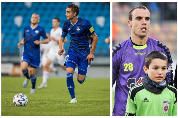 Michal Faško (vľavo) je jediným strelcom Nitry v sezóne. Pod Zobor údajne lanária brankára Matúša Hrušku (vpravo), lebo Dávid Šípoš už v klube asi dlho nevydrží.