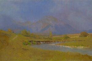 Podtatranská krajina po jarnom daždi, typický obraz Ladislava Mednyánszkeho.