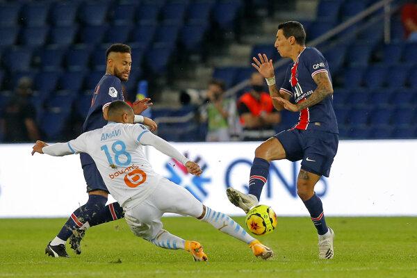 Ángel di María (vpravo) a Neymar v zápase proti Olympique Marseille.