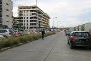 Novomestská ulica v časti Arboria. Vozidlá na ľavej strane by tam nemali parkovať. Stoja tam pravidelne.