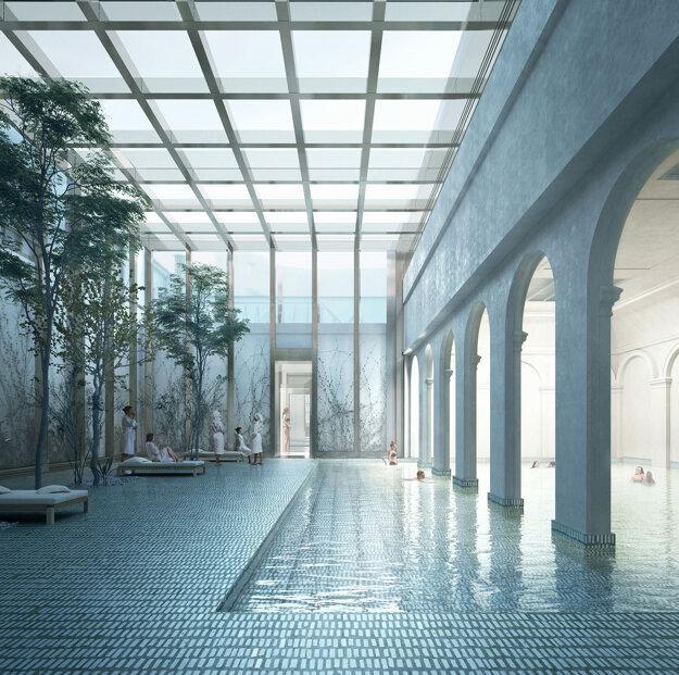 Presklením architekti vyriešili scelenie odlišných častí kúpeľov.