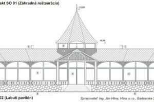 Náčrt Labutieho pavilónu.