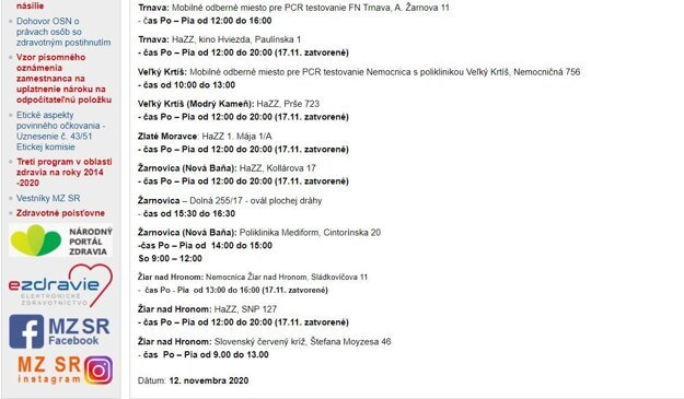 Ani po aktualizácii 12. 11. Zvolen v zozname nefiguruje.
