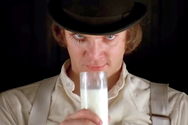Malcom Macdowell vo filme Mechanický pomaranč.