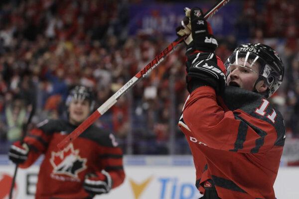Kanada na MS hráčov do 20 rokov, na snímke Alexis Lafreniere.