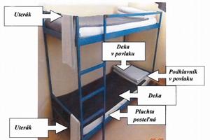 Vzor úpravy lôžka obvineného v prešovskej väznici.