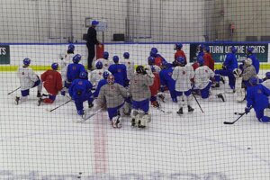 Prvý tréning Slovenska na MS do 20 rokov v hokeji 2021.