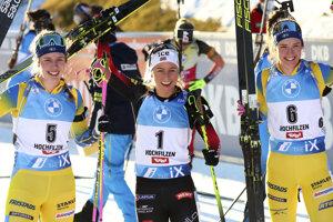Elvira Öbergová, Tiril Eckhoffová a Hanna Öbergová.