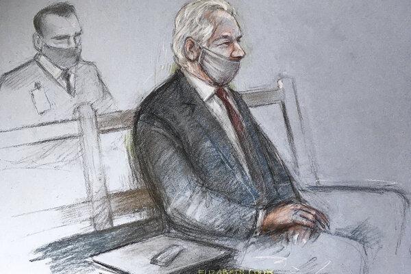 Skica Juliana Assangea zo súdnej siene.