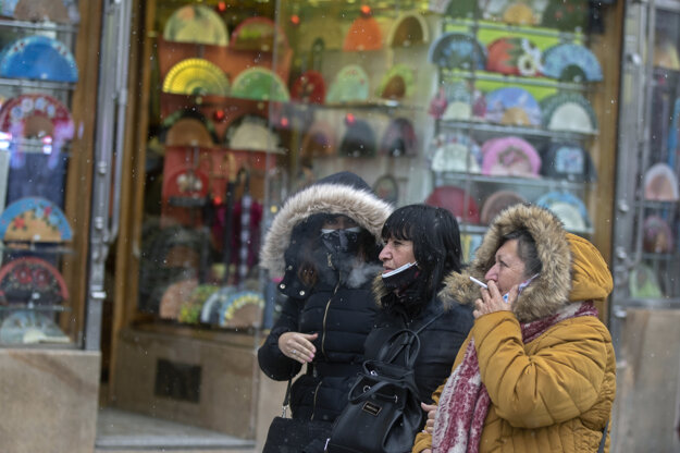 V španielskej metropole nasnežilo vo štvrtok po prvý raz po mnohých rokoch.