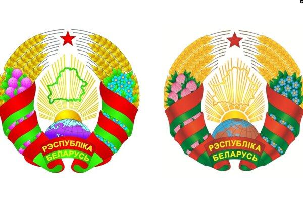Starý štátny znak Bieloruskej republiky (vľavo) a jeho nová verzia.