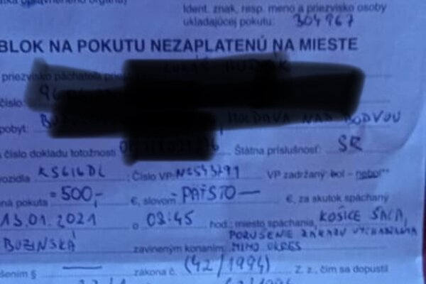 Pokuta 500 eur za porušenie zákazu vychádzania, ktorú dostal Lukáš Hudák.