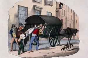 Cholera v roku 1832 na farebnej litografii.