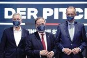 Zľava Norbert Röttgen, Armin Laschet a Friedrich Merz. Traja muži, ktorí v sobotu zabojujú o miesto lídra CDU a možné miesto nemeckého kancelára.