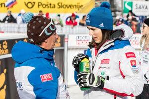 Tréner Livio Magoni a Petra Vlhová.