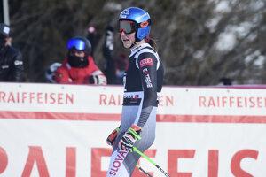Slovenská lyžiarka Petra Vlhová po zjazde v Crans Montane.