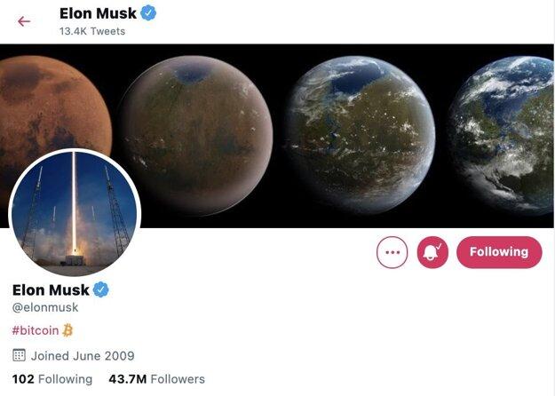 Elon Musk a jeho profil na sociálnej sieti Twitter