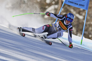 Petra Vlhová počas super-G na MS v zjazdovom lyžovaní 2021 v Cortina d'Ampezzo.