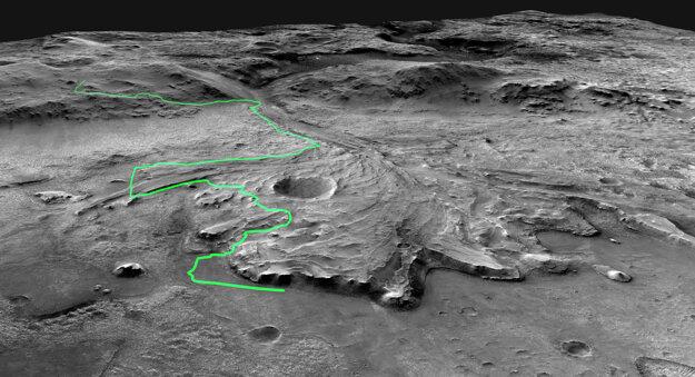 Ilustrácia cesty, na ktorú sa onedlho vydá rover Perseverance. (záber vznikol ešte pred misiou)