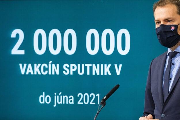 Vtedajší premiér Igor Matovič počas tlačovej konferencie na tému Sputnik V.