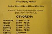 Otváracie hodiny na pošte v Dolnom Kubíne.
