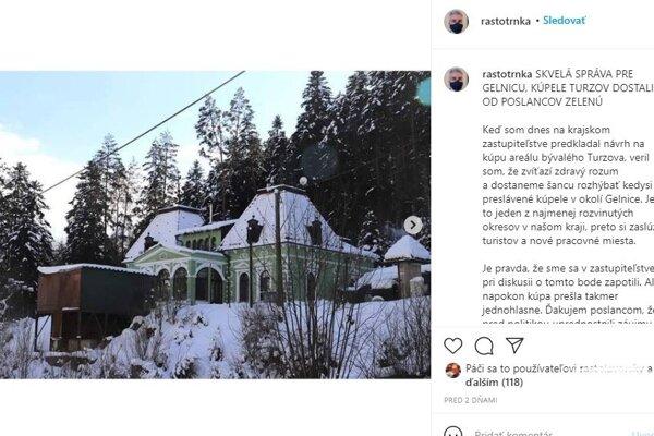 Župan Trnka chcel na sociálnej sieti kupovať aj túto nehnuteľnosť, ktorá do kúpeľného areálu nepatrí.