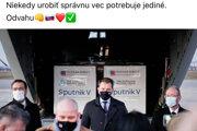 Premiér Igor Matovič na košickej tlačovke počas ochutnávky vakcíny Sputnik V.