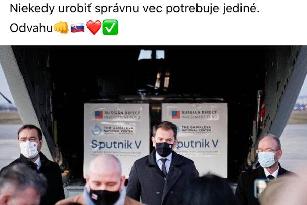 Matovičovo vítanie vakcíny Sputnik V sa často objavuje v ruských médiách.