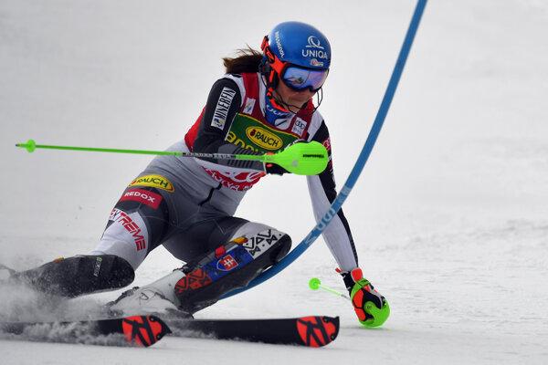 Petra Vlhová v prvom kole slalomu.