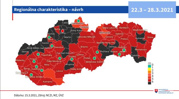 Návrh semafora v jednotlivých okresoch od 22.3.