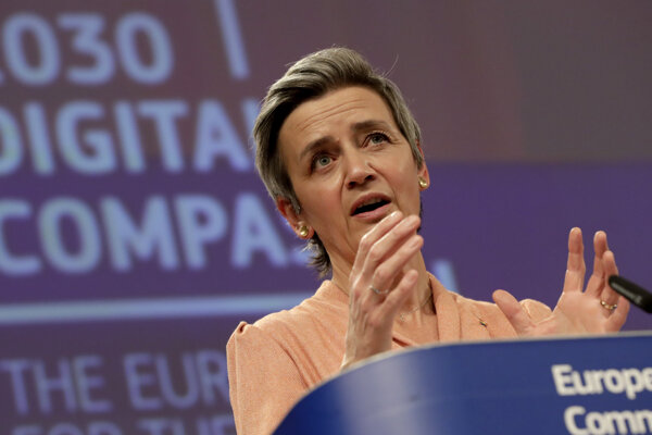 Výkonná podpredsedníčka Európskej komisie Margrethe Vestagerová zodpovedná za politiku hospodárskej súťaže.