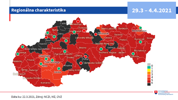 Mapa Slovenska od 29.3. 2021.