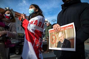 Protest proti Lukašenkovi v Litve.