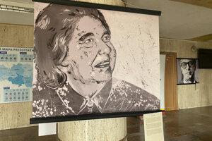 Portrét slovenskej spisovateľky Eleny Lackovej.