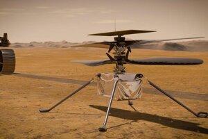Vizualizácia helikoptéry Ingenuity na Marse. V pozadí je rover Perseverance.