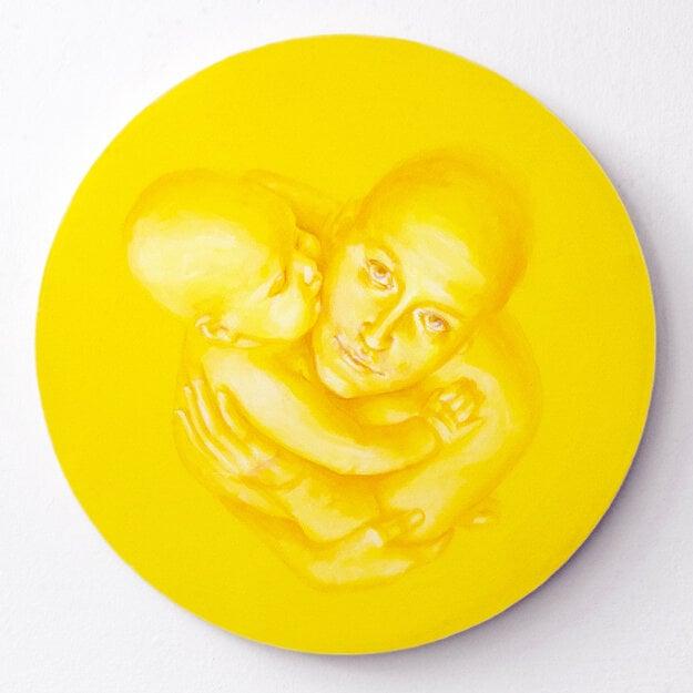 Madona, 2021, akryl na plátne, priemer 40 cm
