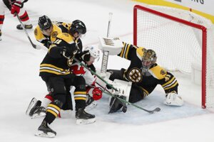 Jaroslav Halák v bránke Boston Bruins.